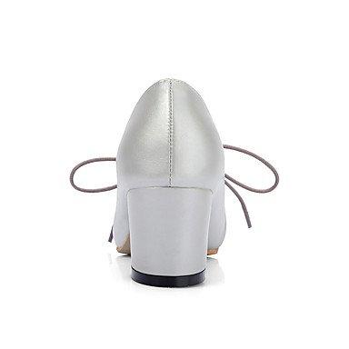 Chaussures femmes talons Printemps Été Automne Hiver Confort Bureau similicuir & Carrière Partie & Soirée Casual Talon Rose Laçage avec ruban gris Sliver