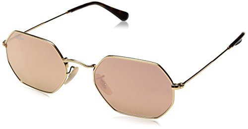 RAYBAN JUNIOR Unisex-Erwachsene Sonnenbrille Octagonal Flat Lenses Gold/Copperflash, 53