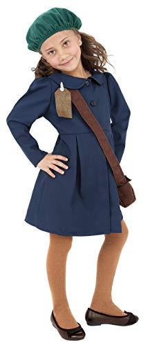 Smiffys Zweiter Weltkrieg Evakuiertes Mädchen Kostüm mit Kleid Mütze und Tasche, ()