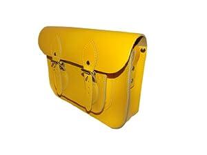 Amarillo intenso Bolso tradicional tipo cartera (11 pulgadas) - Hecho a mano en Inglaterra
