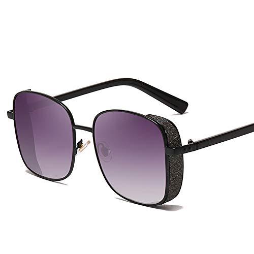 HQMGLASSES Quadratische Steampunk-Sonnenbrille für Damen und Herren, Metallrahmen, Sonnenbrille mit glänzenden Tönen, Spiegelbrille - Unisex-Retro-Brille mit UV400-Schutz für,Blackframe/graygradient