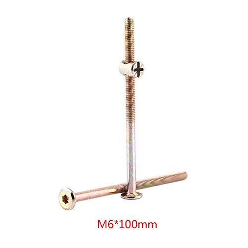 10 stücke M6 Kohlenstoffstahl Möbelschrauben Mit Zylindermuttern Zylindermutter Verbindungselement Zubehör Langlebig und Rostfrei(100mm)