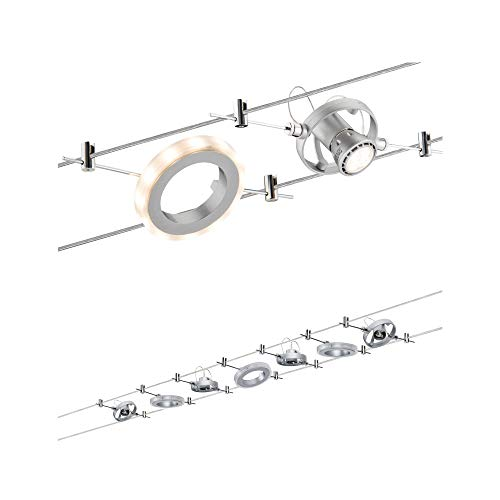Paulmann 941.42 Seilsystem HaloLED Set max4x10W incl.3x1,5W Chrom matt 94142 Seilleuchte Hängeleuchte