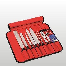 Kelomat Messertasche, Messerkoffer, Rolltasche, 12-teilig, befüllt, rot