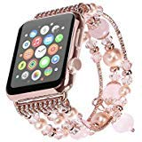 Kaing Compatible Bands for Apple Watch Band 38mm/42mm iWatch Band Women Fashionable Faux Pearl Bracelet Beaded for Apple Watch Series 3 Series 2 Series 1 Version (38MM, Powder crystal.A)