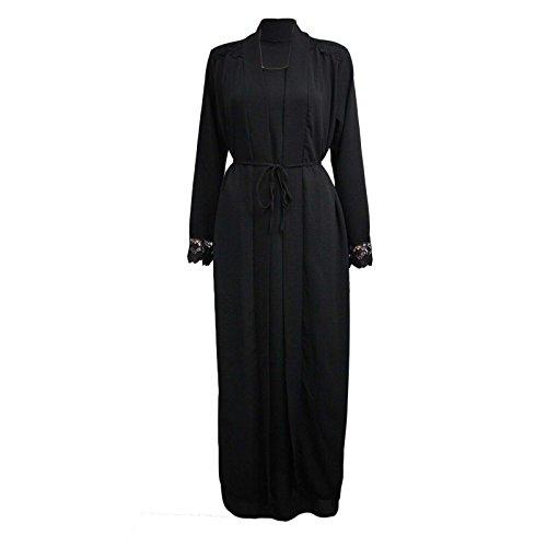 Womens Ladies Long Kimono Dress Abaya Open Abaya Maxi Style Lace Belted (Black Shoulder & ARM Lace, One Size (fits UK 8-14))