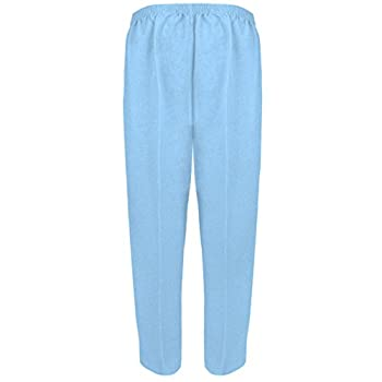 Myshoestore Pack Of 2 Ladies Womens Half Elasticated Trouser Stretch Waist Casual Office Work Formal Pull On Trousers Straight Leg Pants Bottoms With Pockets Plus Big Sizes 10-24(sky Blue, 1425) 1