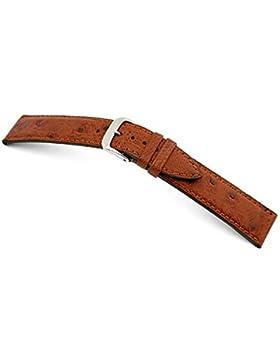 RIOS1931 Uhrenarmband Echt Straußenleder Mahagoni Bandanstoss 20 mm