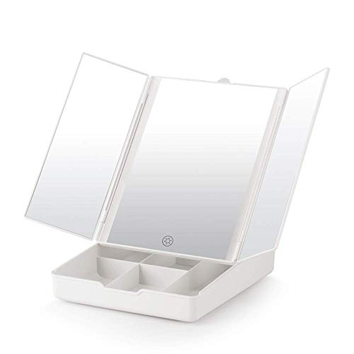 JXQ Desktop Dual Light Mirror Multi-angle Desktop Dual Power Supply peut être agrandi trois fois cadeau cadeau fille miroir , 3 couleurs (Color : White)