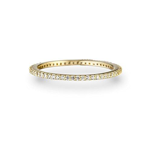 Glanzstücke München Damen-Ring Sterling Silber gelbvergoldet Zirkonia weiß - Memory Ring Stapel-Ring filigran