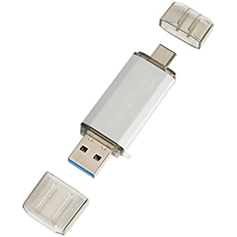 MaXinDa 32 GB USB OTG (ON THE GO) Flash Drive Dual, alla moda 3.1 Memory Stick Per Smartphone Android e Computer argento 32 go