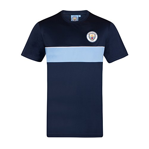 39c3286a36495a Manchester City FC Official Gift Mens Crest Poly T-Shirt Navy Sky Blue Large