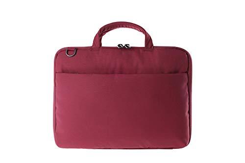 Tucano Darkolor Hartschalentasche für Laptop Notebook bis 14 Zoll, für den mobiler Arbeitsplatz mit praktischer Standfunktion und abnehmbarem Schultergurt - Rot