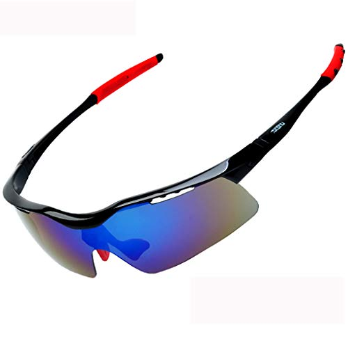 HLSE Radsportbrille Sonnenbrillen Radsportbrille mit 5 Wechselgläsern Polarized UV400 Schutz für Angeln Fahren Laufen Golf (schwarz)