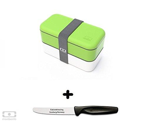 Monbento Original grün / weiß - Die Bento-Box + Edelstahlstyling Universalmesser GRATIS