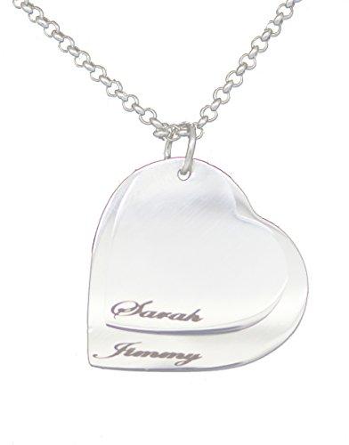County Engraving-Collana con ciondolo a forma di cuore doppio, placcata in argento, personalizzabile con qualsiasi nome personalizzabile con incisione