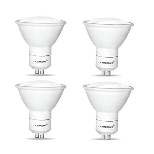 Lampaous® GU10 LED Energy Saving Bulbs 5W (x4)- Direct Replacement for Halogen 50W Spotlight Bulbs - Giving up to 90% Savings on Electricity Bills - 120 Degree Beam Angle with beautiful Natural White Light for better Light Coverage - Non Dimmable.