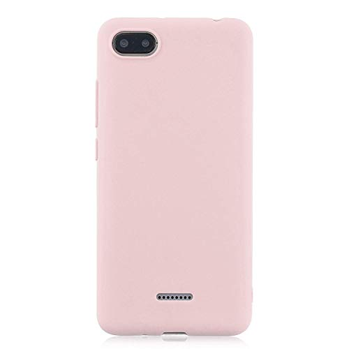 cuzz Funda para Xiaomi Redmi 6A+{Protector de Pantalla de Vidrio Templado} Carcasa Silicona Suave Gel Rasguño y Resistente Teléfono Móvil Cover-Rosa Claro