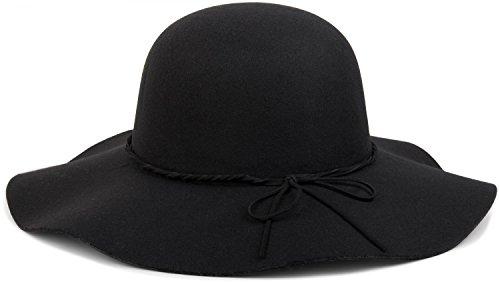 Fedora Filzhut mit schmalem Zierband und Schleife aus Filz, Hut, Damen 04025008, Farbe:Schwarz (Schwarzen Filz Hut)