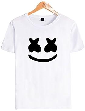 SIMYJOY Unisex DJ Marshmello Fans Maglietta Suono Elettrico T-Shirt Cool Hip Pop Top Tee per Uomo Donna Teen