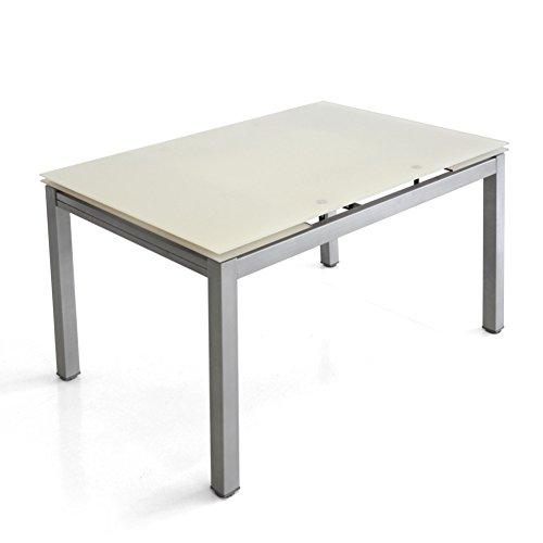 Cribel Notorious Tavolo, Metallo Satinato, Vetro Temperato, 120/180 cm x 80 cm x 75 cm, Alluminio/Bianco