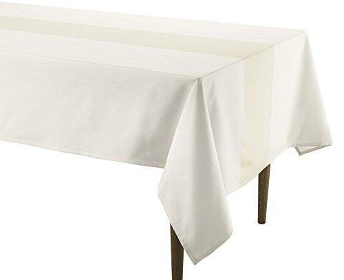 Doran Sou Galaxy Weiß/Gold, rechteckige Tischdecke 150x 250cm, gewebte Baumwolle Hervorragende Qualität mit Metallic Silber Garn