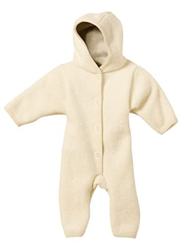 DISANA 100% ORGANIC BOILED WOOL OVERALL ROMPER HOODED NEWBORN/BABY MADE IN GERMANY (12-24 months, Natural) by Disana-Germany