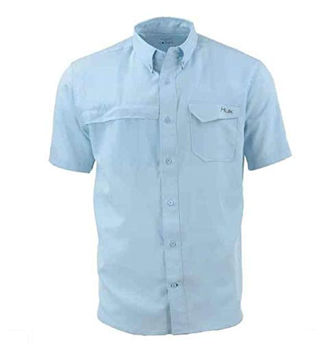 Huk Herren Tide Point Woven Solid Short Sleeve Ice Blue Small -