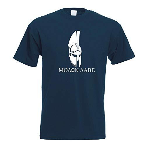 Kiwistar Sparta 300 Helm Molon Labe T-Shirt Motiv Bedruckt Funshirt Design Print (Spartaner Kostüm Blauer)