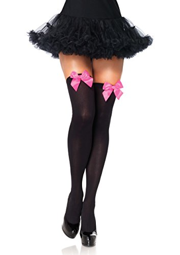 LEG AVENUE 6255 - Blickdichte Nylon Overknee Mit Satin Schleife, Einheitsgröße (EUR 36-40), schwarz/neon pink, Damen Karneval Kostüm ()