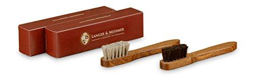 Langer & Messmer 2er-Set Rahmenbürste aus 100% Rosshaar - die Schuhbürste zur Pflege des...
