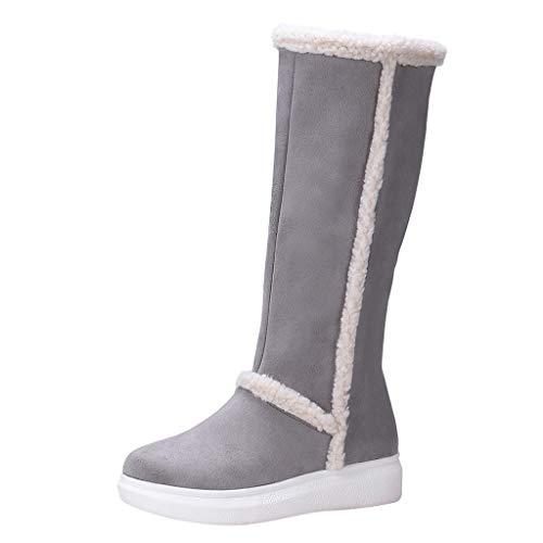 ⚡Makefortune⚡Ladies Womans Festival Winter Schnee Bequeme Flache Knöchel Kniehohe Fell gefüttert Harte Sohle Stiefel Größen 3-8 UK