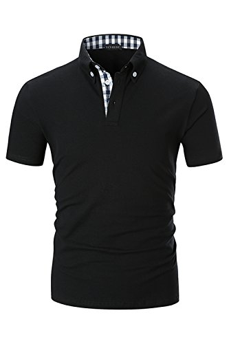 YCUEUST Herren Kurzarm Poloshirt Polohemd Polo Shirts mit Kariert Polokragen Schwarz EU XL