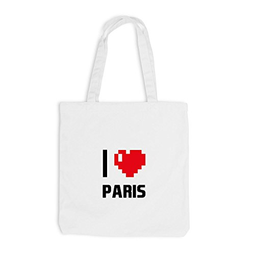 Borsa Di Juta - Amo Parigi - Francia Viaggio Cuore Cuore Pixel Bianco