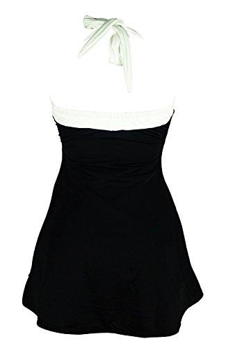 Summer Mae Damen Retro Bademode Neckholder Push Up Badekleid Einteiler mit Röckchen Marineblau(Rot Streifen)