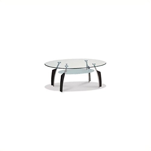 Global Furniture Occasional Coffee Table with Black Legs, Clear/Silver by Global Furniture USA (Global Furniture Usa)