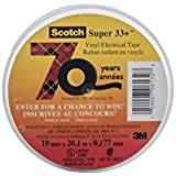 3M 80611207012 33+ Scotch Super Ruban Vinyle d'Isolation Electrique Hautes Performances, 19 mm x 20 m, Noir