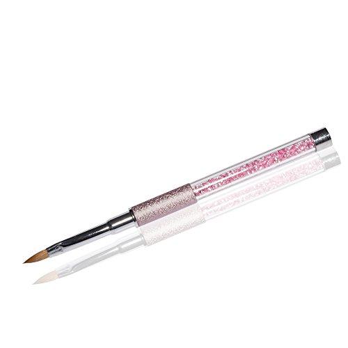 Fullcover UV-Gel Pinsel Deluxe Rosa Gr. 4 Katzenzungenpinsel Rosa Strasssteine