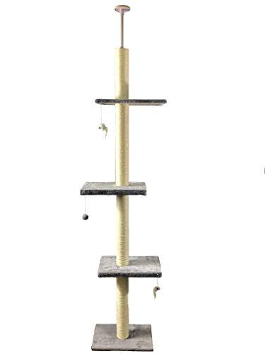 Pippa & Max Tiragraffi per Gatti al soffitto 215cm-288cm, Albero per Gatti dal Pavimento al soffitto, Giochi per Gatti, Graffiatoio Sisal, Albero Grande Gatto Che Si estende se Necessario
