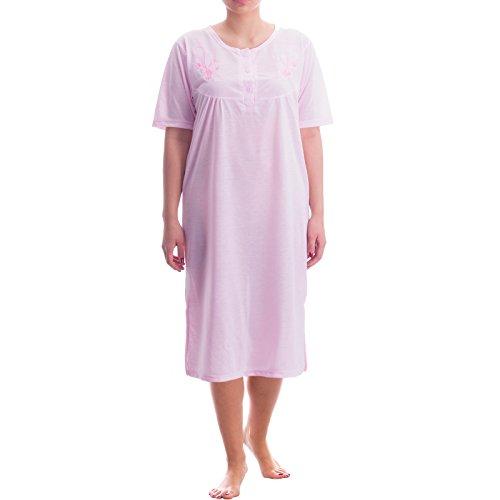 Lucky chemise de nuit à manches courtes pour femme uni féminin fine nuit été col rond Rose - Rose