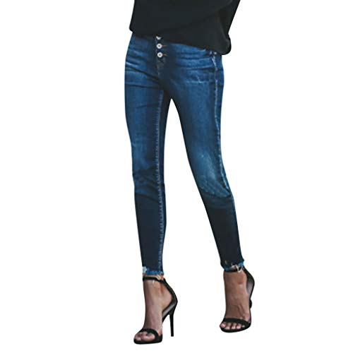 Vectry Jeans Damen Slim Fit Skinny Fit Jeans Jogger Push Up Ankle Straight Leg Mit LöChern Stretch Denim Relaxed Hose Aufnäher Hosen, Knopf Elastisch Bleistifthosen Jeanshosen(Blau,M) - Ein-knopf-stretch-hose