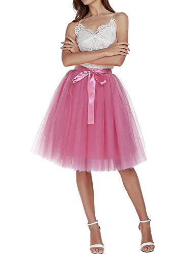 Facent Damen 5 Schichten 65cm Knielang Tüllrock Midirock Tüll Kleid Rock Pale Rosagrau