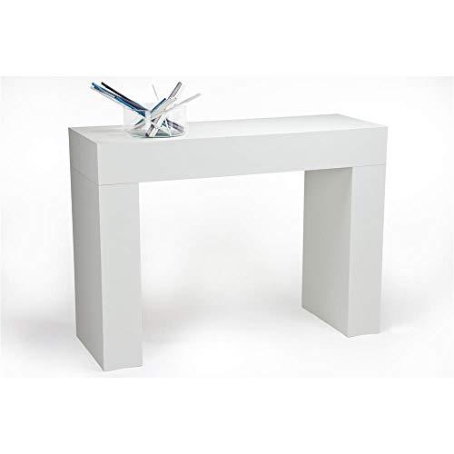 Mobili fiver, tavolo consolle evolution, bianco frassino, 110 x 40 x 80 cm, nobilitato, made in italy