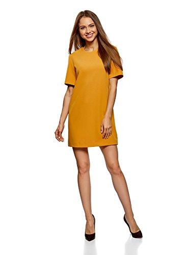 oodji Collection Damen Kleid aus Festem Stoff mit Reißverschluss am Rücken, Gelb, DE 44 / EU 46 / XXL - Konferenz Linie