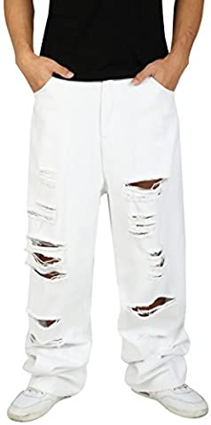 Pizoff Men Hip Hop Hipster Style Monochrome Oversized Baggy jeans With Extreme Rips Y1761-05-34