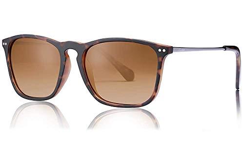 Carfia Vintage Polarisierte Damen Sonnenbrille Herren Sonnenbrille Fahrer Brille 100% UV400 Schutz für Autofahren Reisen Golf Party und Freizeit - Ultraleicht Rahmen (Herren&Braun)