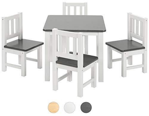 BOMI Kinderecke Wartezimmer 4 Stühlchen Baby mit Tisch Amy aus Kiefer Massiv Holz | Zeitlose Tischgruppe für das Kinderzimmer | Anthrazit Weiß
