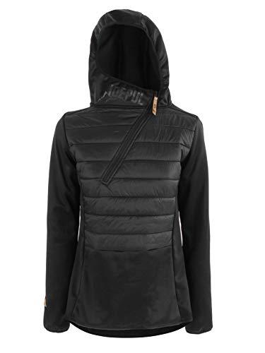 Idealer Pulverschnee IDEPUL Hybridjacke Damen mit Kapuze, Hybridpullover, Farbe Schwarz, Größe XS