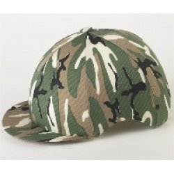 Reitkappe / Reithelm, aus Lycra-Seide, mit Camouflage-Muster (Lycra Muster)