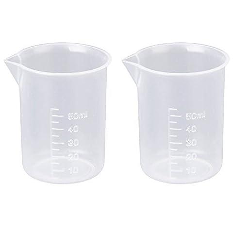 2 Pièces Récipient Gradué Transparent 50 ml pour Laboratoire et Cuisine | Gobelet en Plastique Blanc | Godet Gradué en Plastique Transparent pour Test en Laboratoire